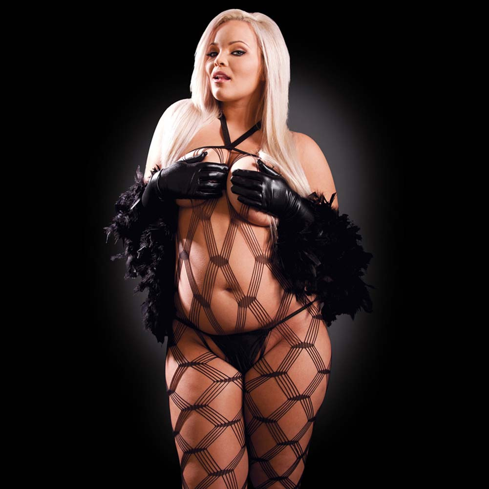 Fetish Fantasy Lingerie Dream Weaver Set Plus Size Black - View #3