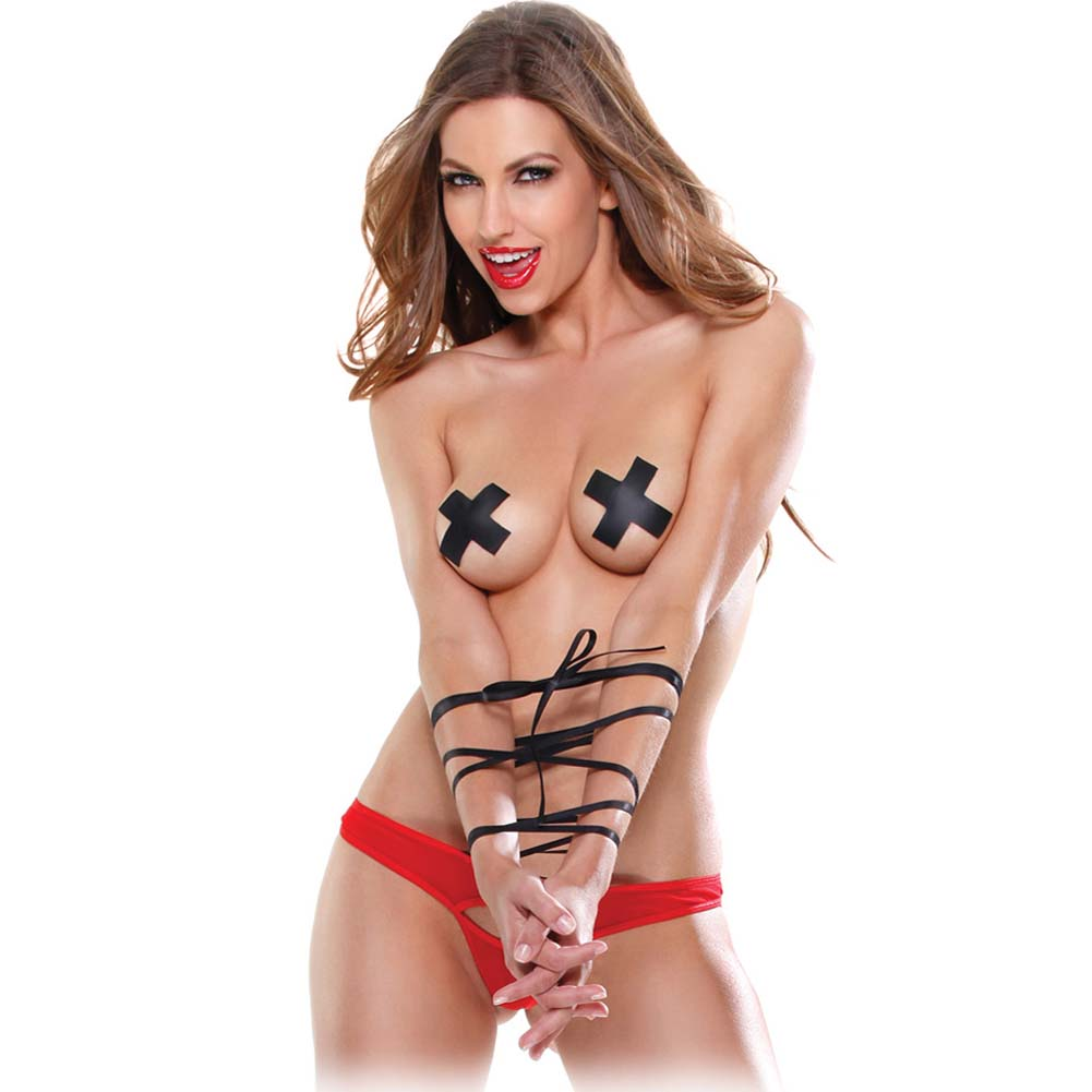 Pipedream Fetish Fantasy Lingerie Tie Me Up Panty Set One Size Red/Black - View #1