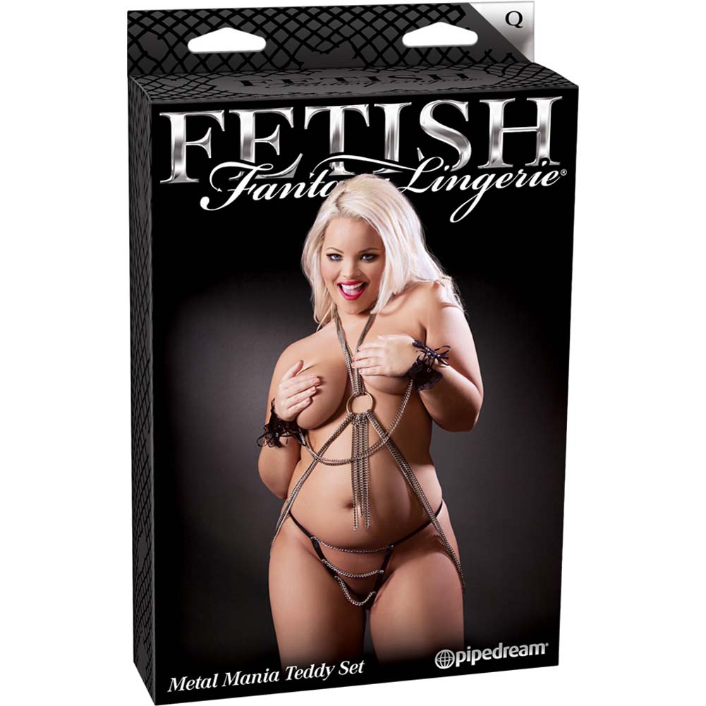 Fetish Fantasy Lingerie Metal Mania Teddy Set Queen Size Black - View #4