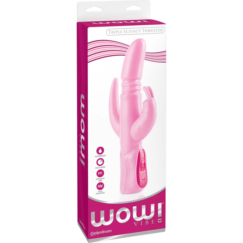 "Wow Triple Ecstacy Thruster Rabbit Silicone Vibe 10.5"" Pink - View #4"