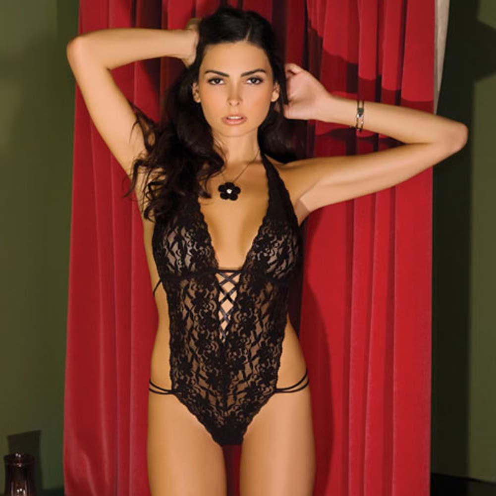 Lace Halter Teddy Black Small/Medium - View #1