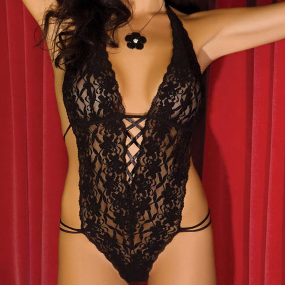 Lace Halter Teddy Black Small/Medium - View #3