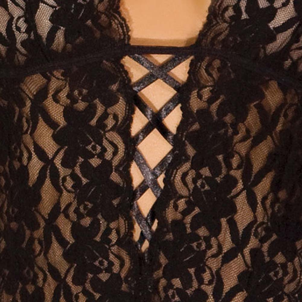 Lace Halter Teddy Black Medium/Large - View #4