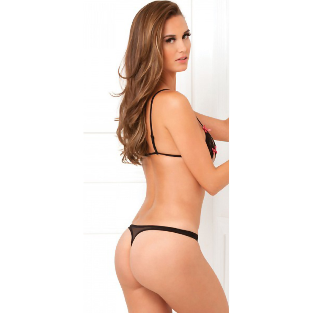 Rene Rofe Lace Peek A Boo Bra and Crotchless Thong Set Medium/Large Black - View #2