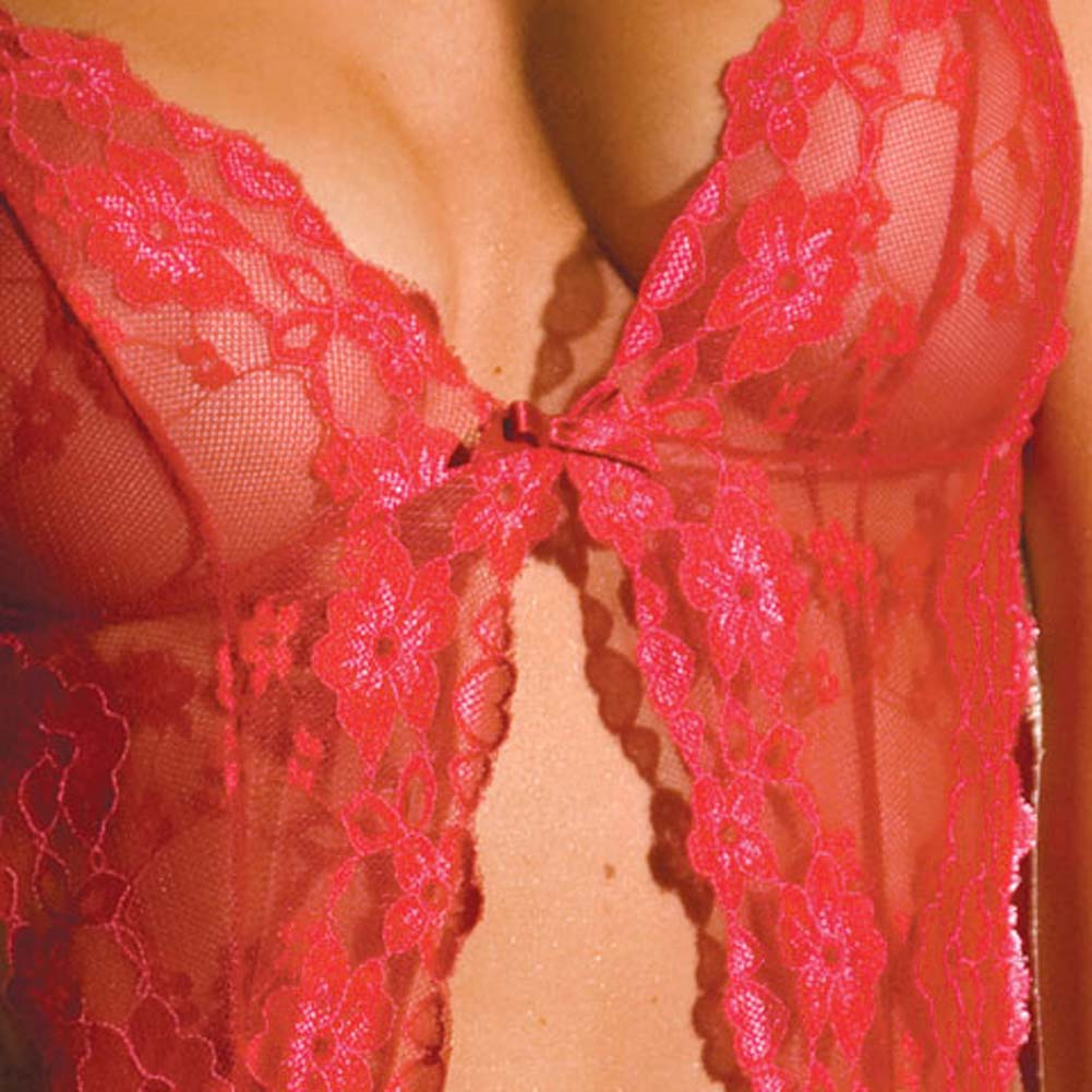 Passionate Lace Garter Bralet and Thong Set Red Small/Medium - View #4