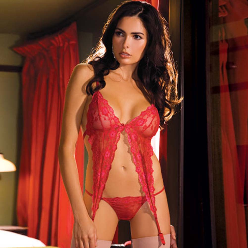 Passionate Lace Garter Bralet and Thong Set Red Medium/Large - View #1