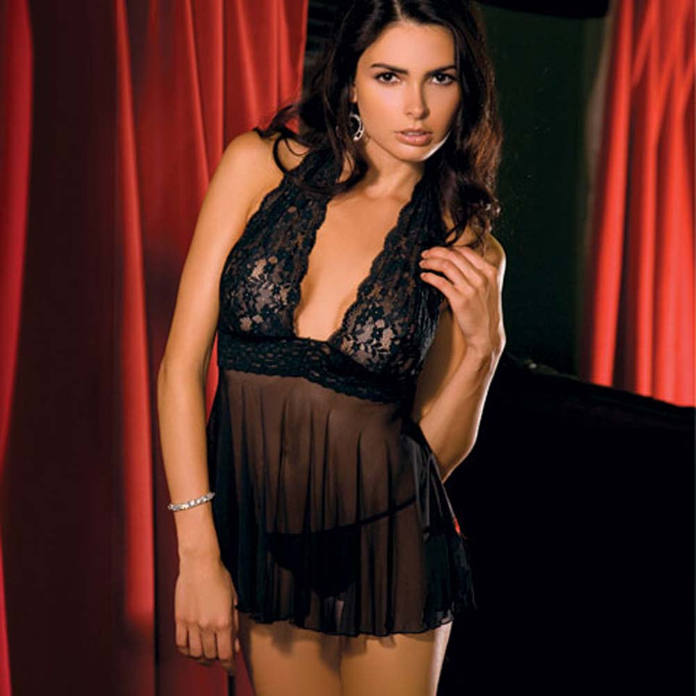 Rene Rofe Lace and Mesh Halter Babydoll Dress with G-String Medium Classic Black - View #2
