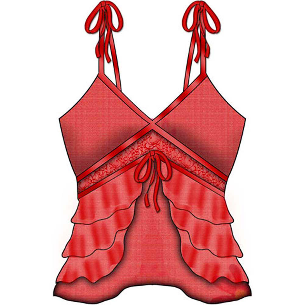 Take A Bow Slit and Sheer Cami Medium Red - View #2
