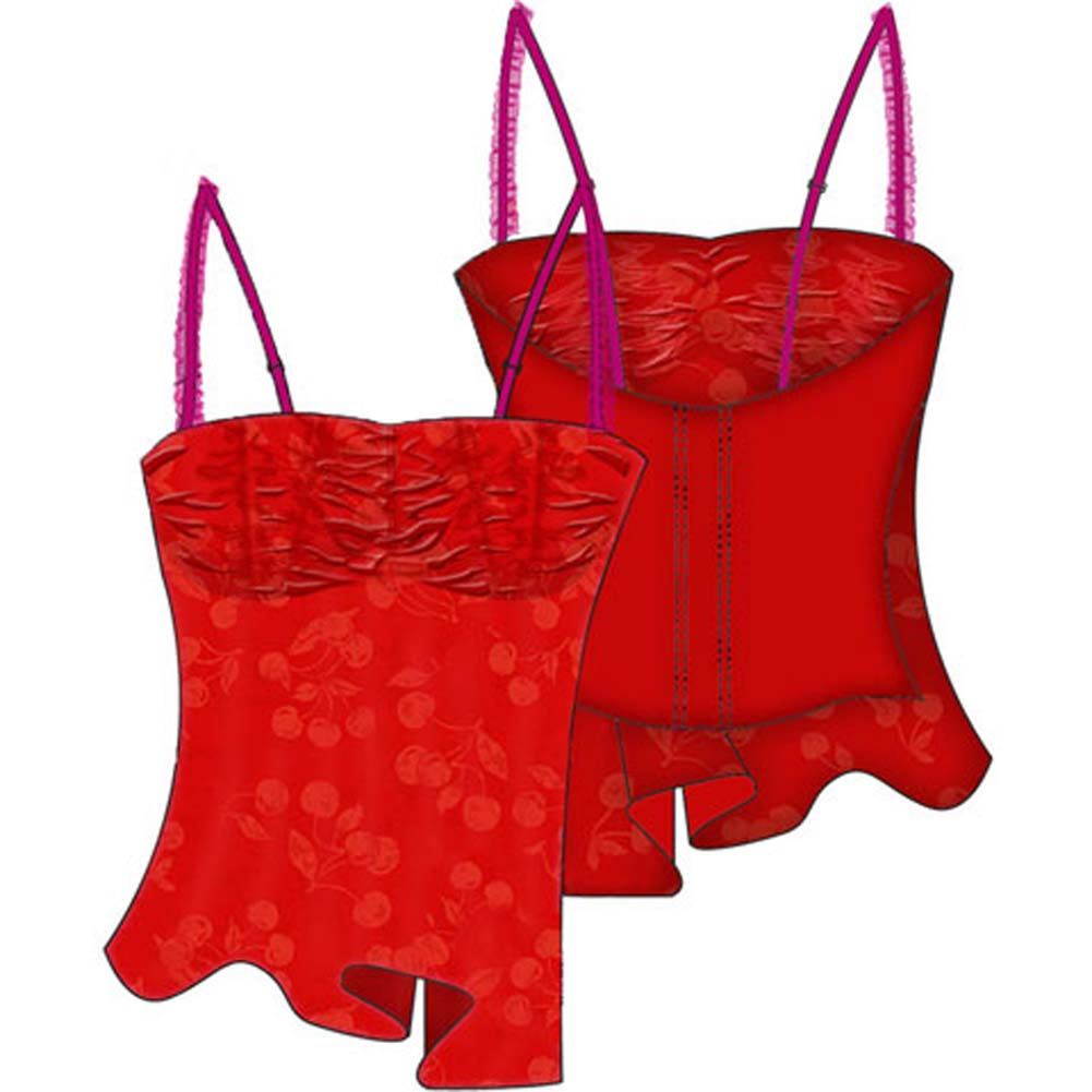 Necessary Objects Cherry Pie Relaxed Fit and Ruffled Camisole Top 34D Red - View #2