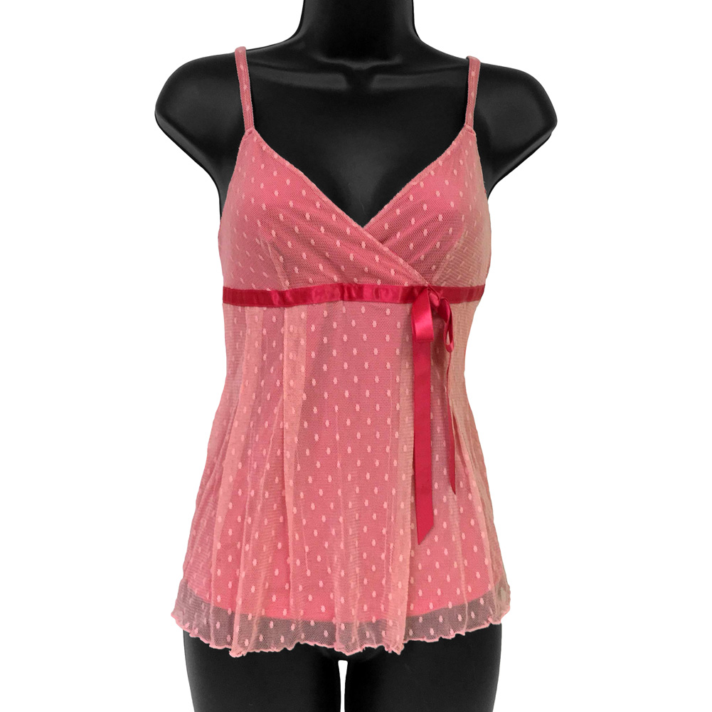 Necessary Objects Miss Dottie Flouncy Polka Dot Camisole Large Pink - View #1