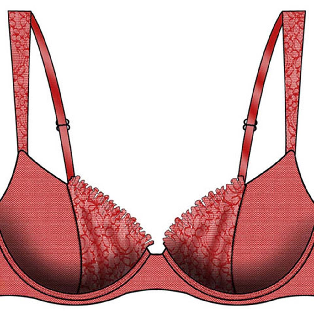 Necessary Objects Take a Bow Flowers and Lace Push-Up Bra 36C Red - View #2