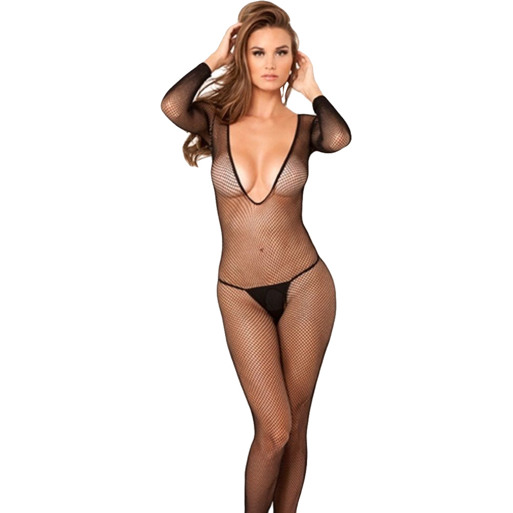 Extreme V Neck Long Sleeve Bodystocking One Size Black - View #1