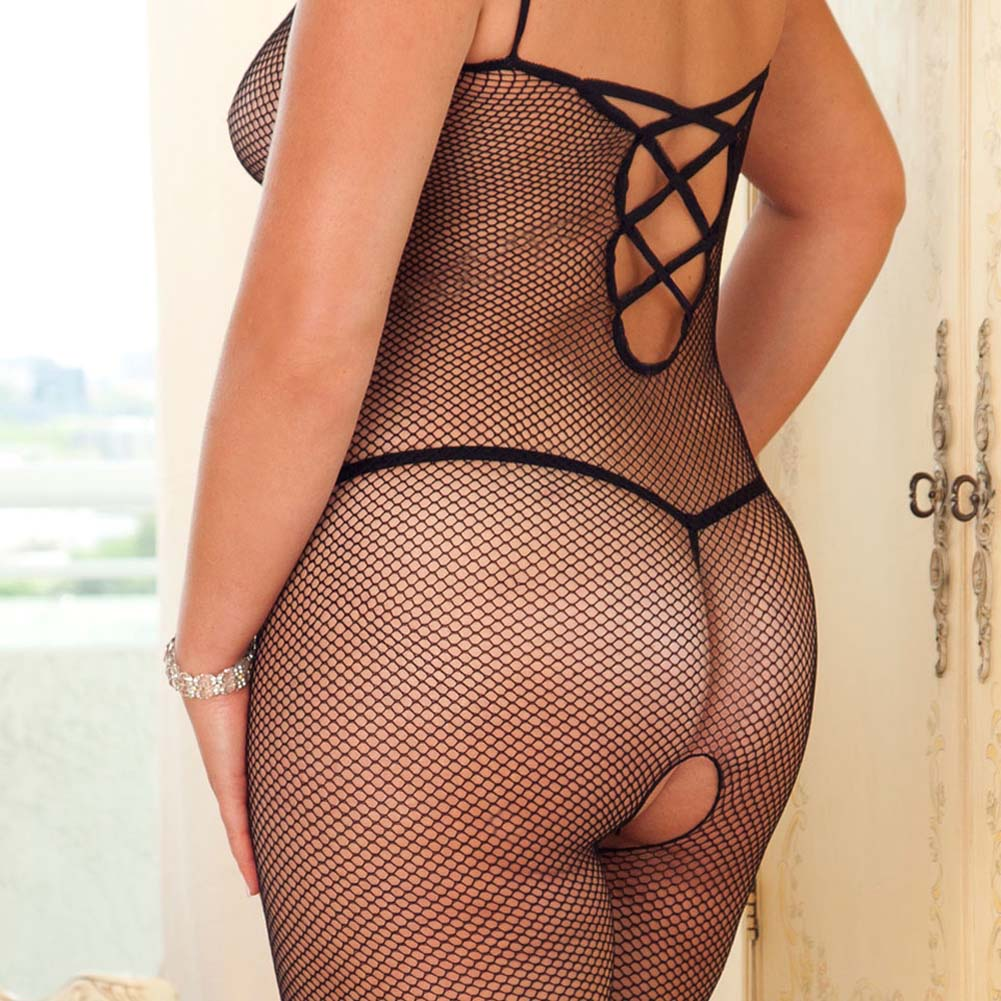 Chic Criss Cross Back Strap Bodystocking Plus Size - View #4