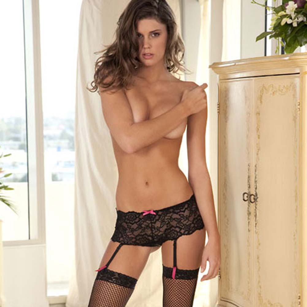 Crotchless Lace Boyleg with Removable Garters Small/Medium - View #3