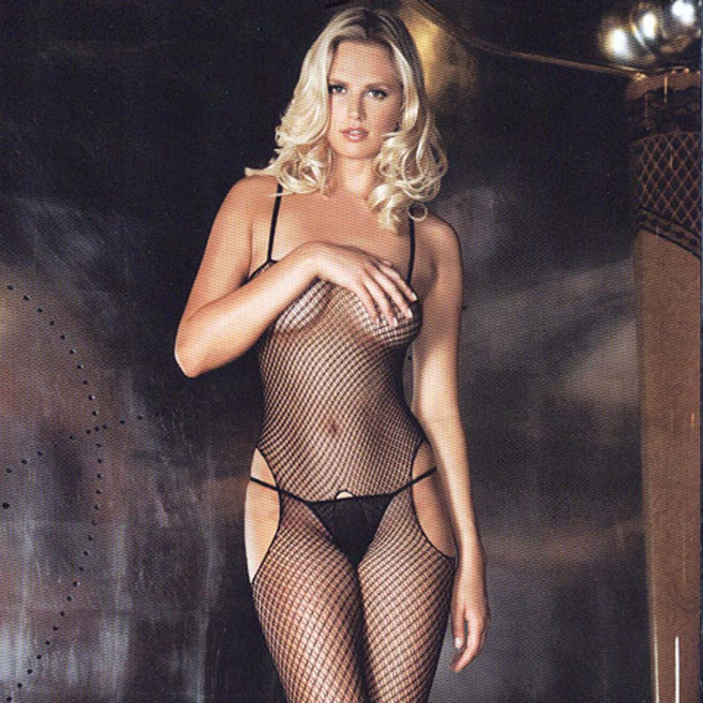 Sexy and Sensual Crotchless Fishnet Bodystocking Black - View #1