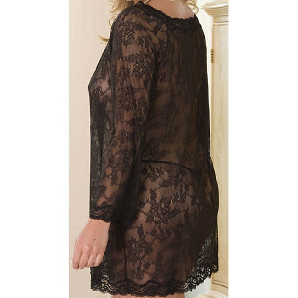 Lacey Long Sleeve Chemise Dress and Thong Set Plus Size - View #4