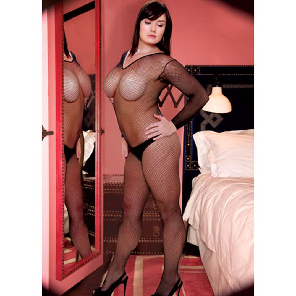 Very V Neck Long Sleeved Crotchless Bodystocking Plus Size - View #3