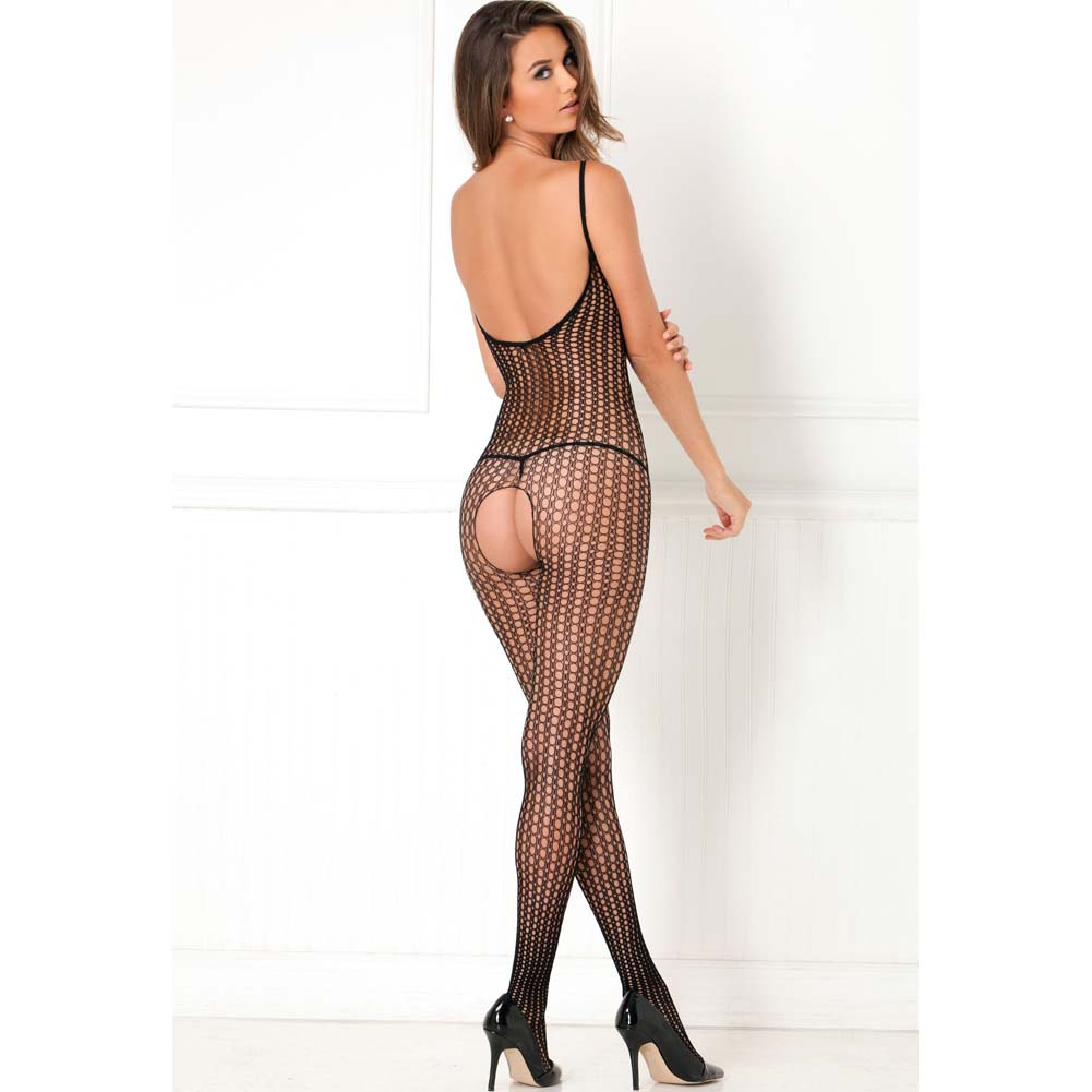 Rene Rofe Quarter Crochet Net Bodystocking One Size Black - View #2