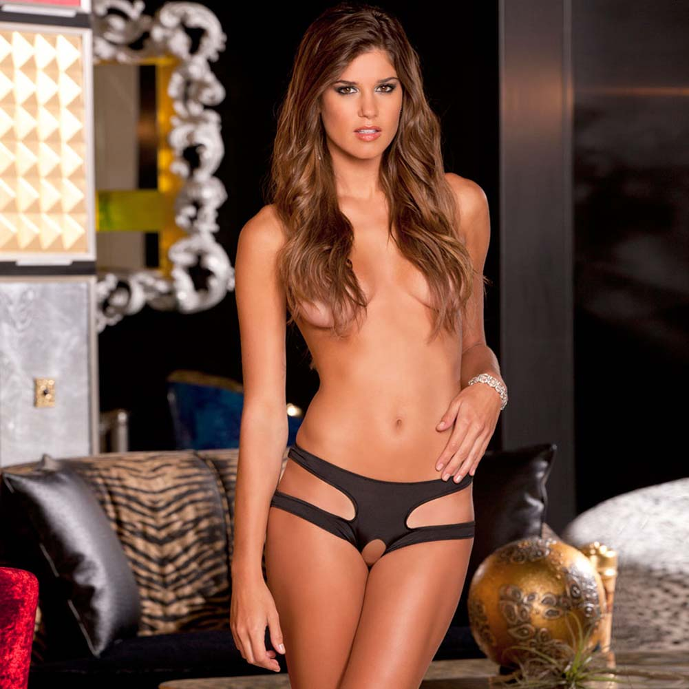 Rene Rofe Cut It Out Crotchless Panty Small/Medium Black - View #1