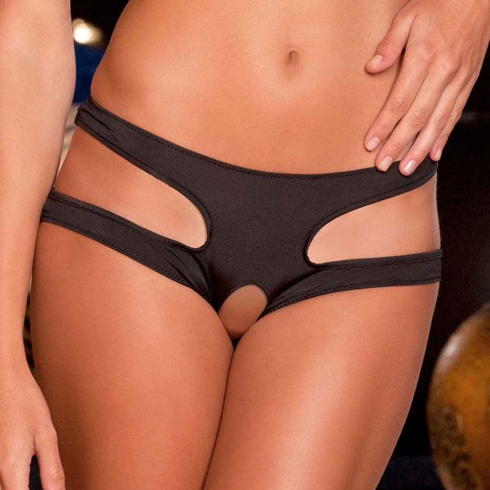 Rene Rofe Cut It Out Crotchless Panty Small/Medium Black - View #3
