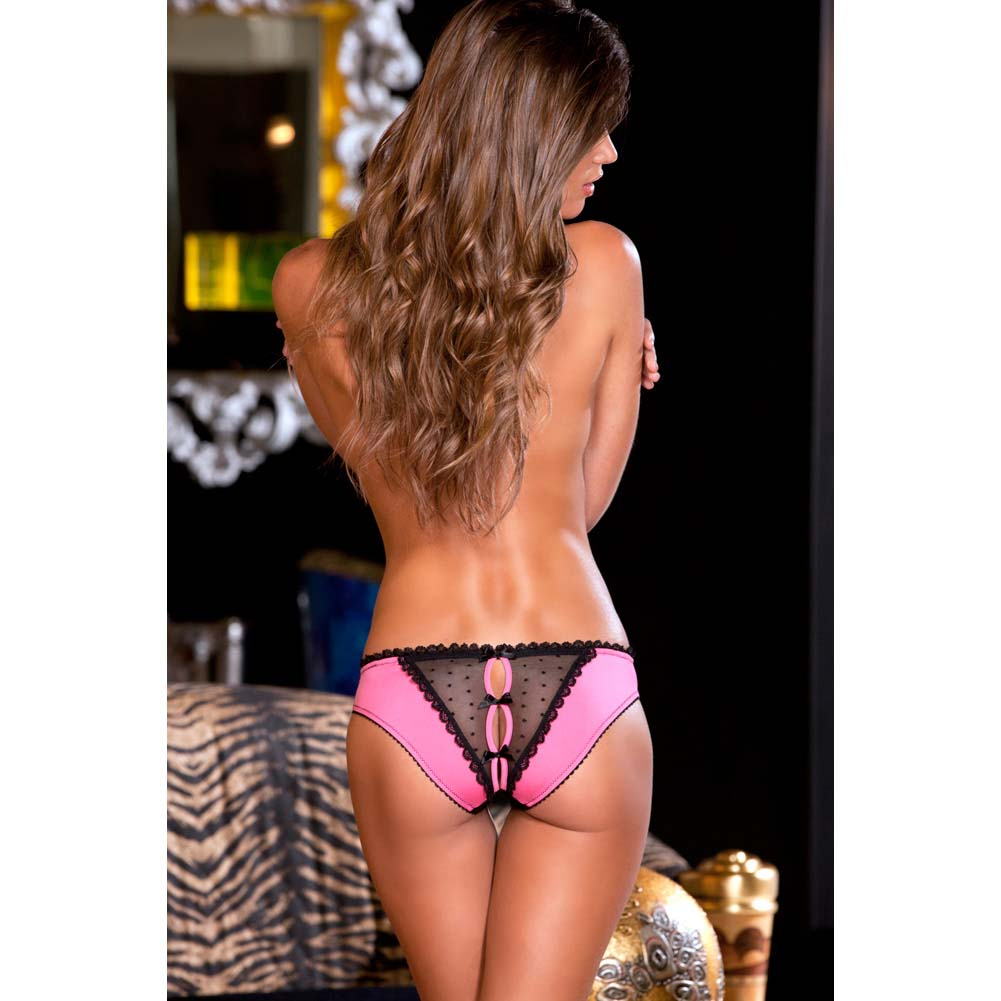 Rene Rofe Crotchless Frills Panty with Back Bows Medium/Large Hot Pink/Black - View #4