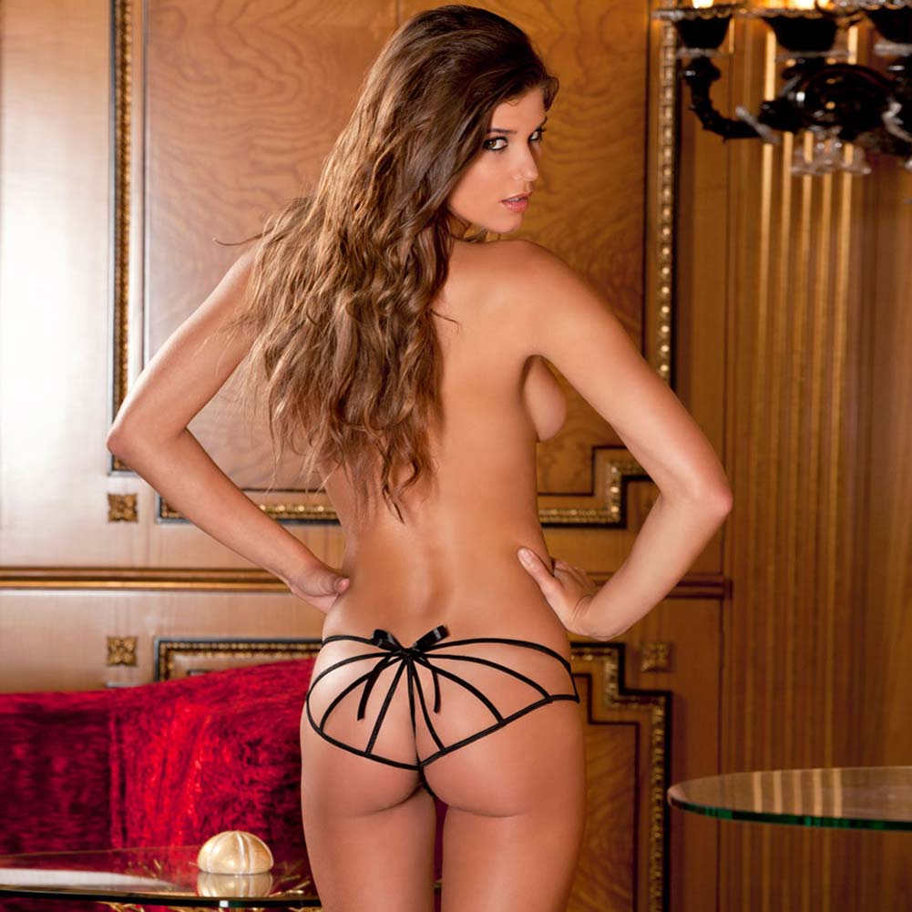 Cage Back Crotchless Boyshort for Women Small/Medium Black - View #3