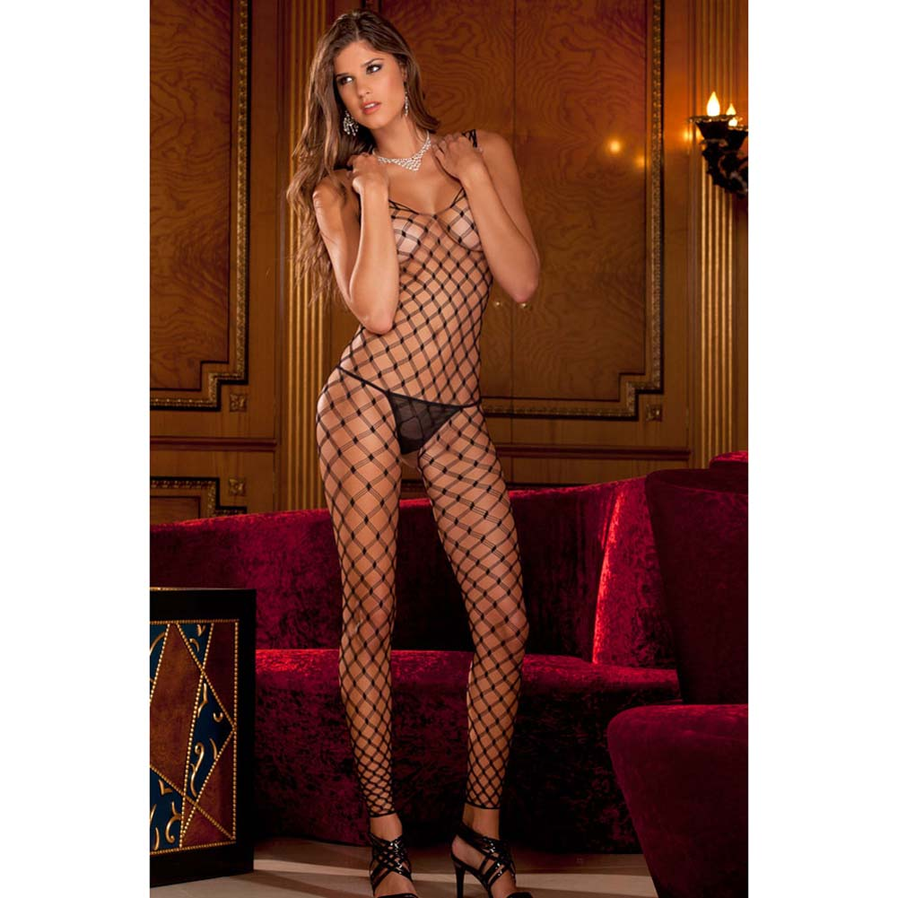 Divine Diamond Net Footless Bodystocking Black - View #1