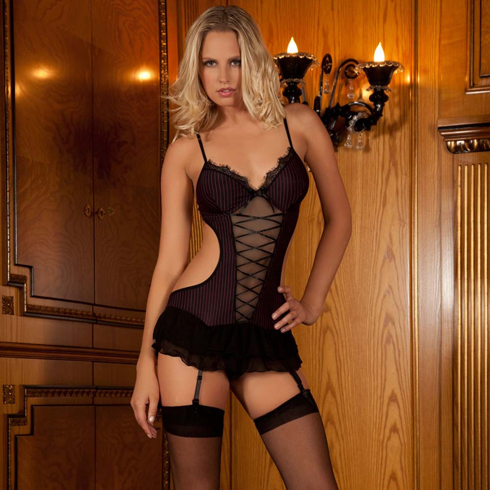 Seductive Striped Teddy with Garters Black Small/Medium - View #1