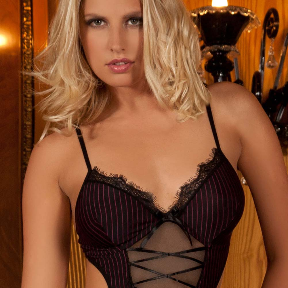 Seductive Striped Teddy with Garters Black Small/Medium - View #3