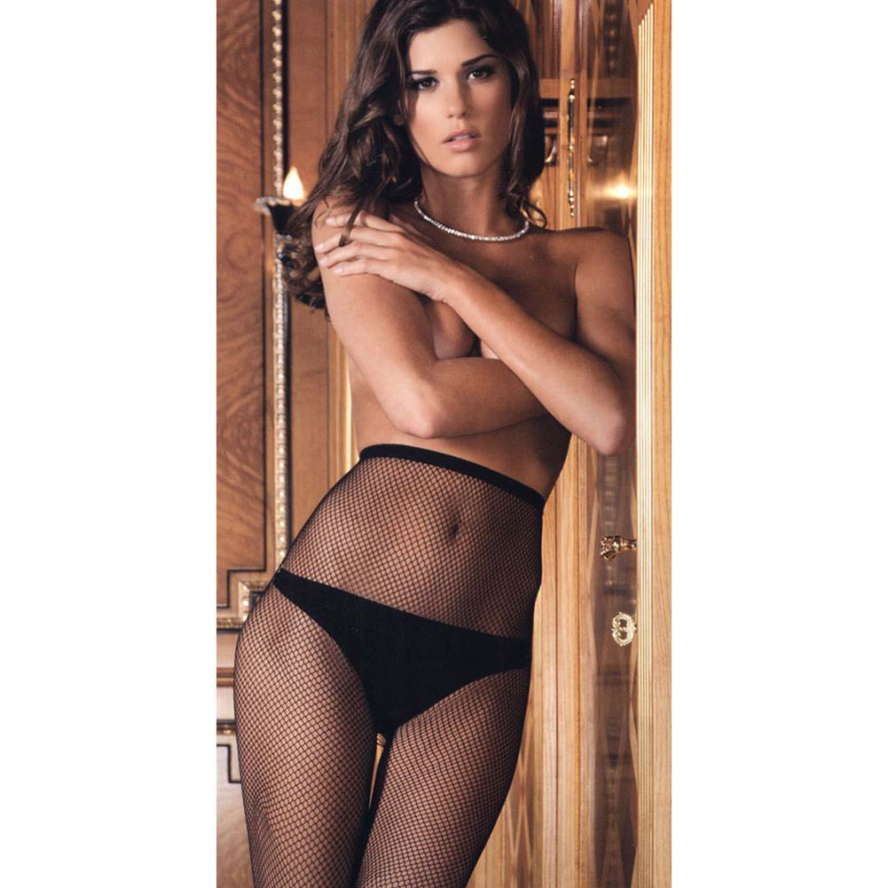 Rene Rofe Conveniently Crotchless Open Back Fishnet Pantyhose One Size Black - View #3