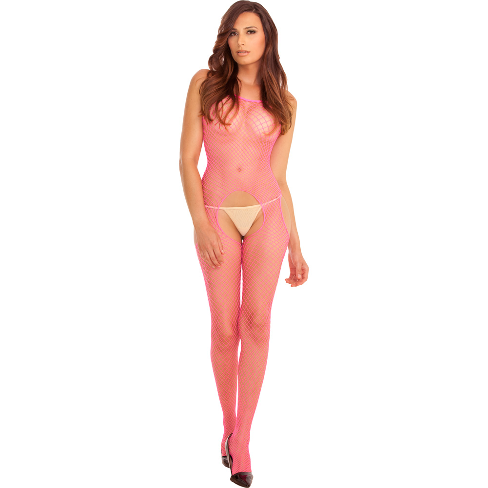 Rene Rofe Tank and Suspender Industrial Net Bodystocking One Size Hot Pink - View #1