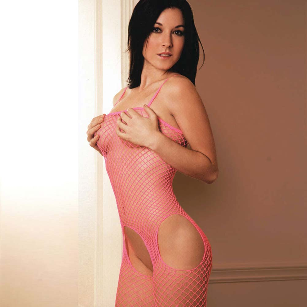 Rene Rofe Tank and Suspender Industrial Net Bodystocking One Size Hot Pink - View #3
