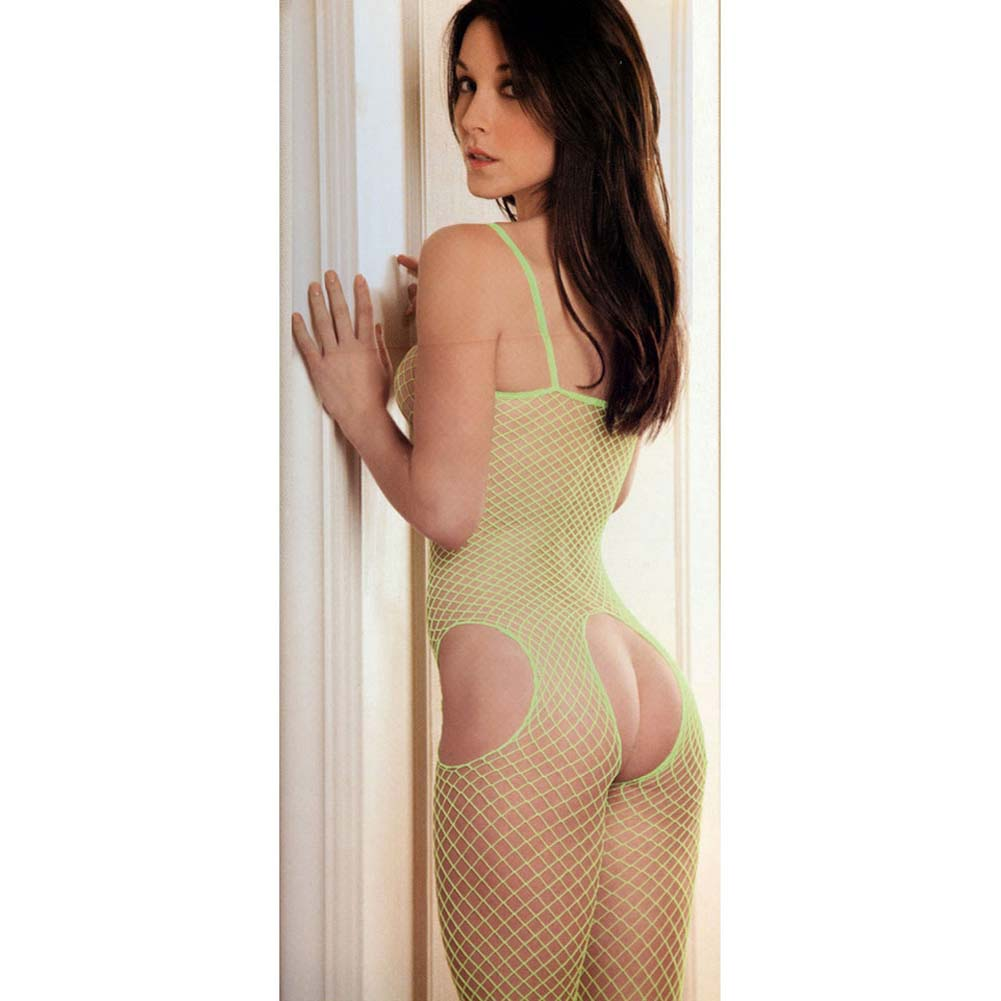 Tank and Suspender Industrial Net Bodystocking One Size Lime - View #4
