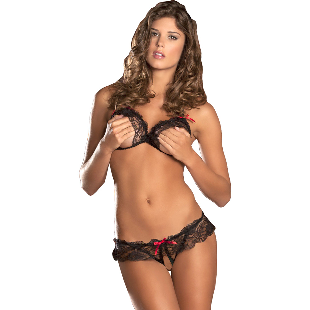 Lace Peek A Boo Bra and Crotchless Panty Set Small/Medium Black - View #1