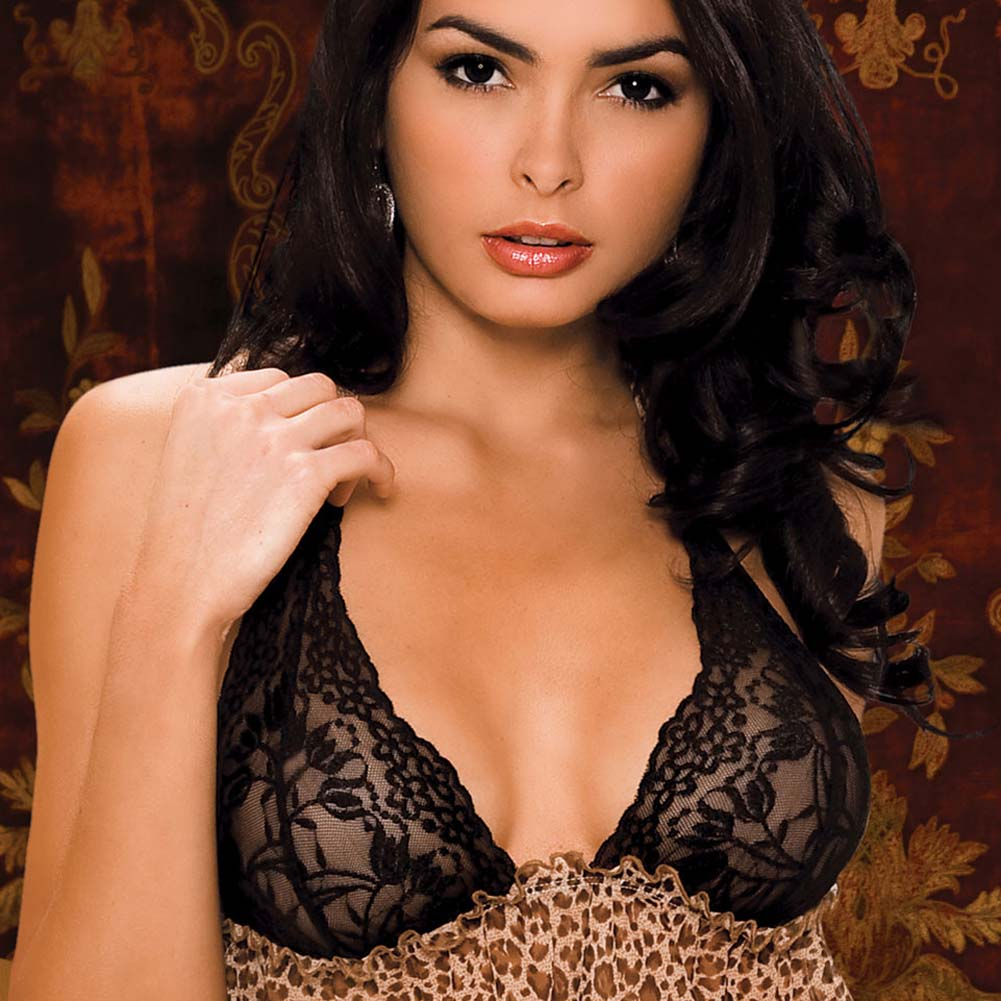 Leopard and Lace Bra and Skirted Thong Set Small/Medium - View #3