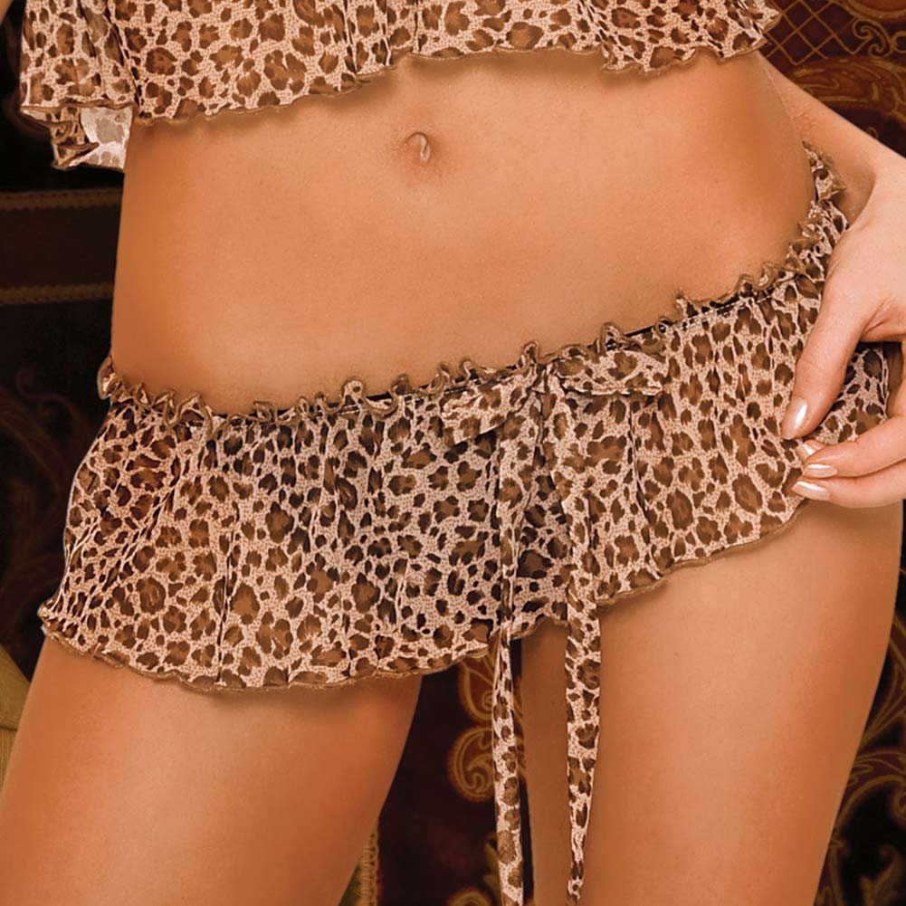 Leopard and Lace Bra and Skirted Thong Set Medium/Large - View #4