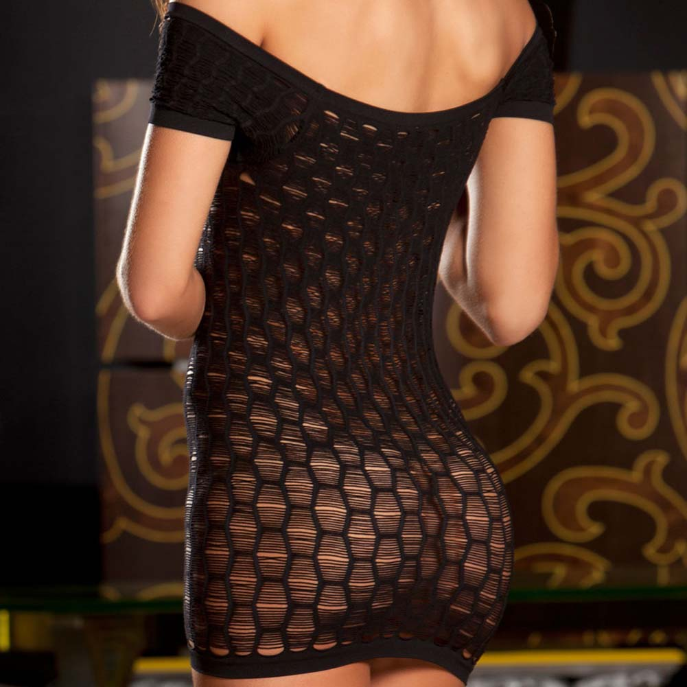 Seamless Shredded Mini Dress One Size Black - View #4