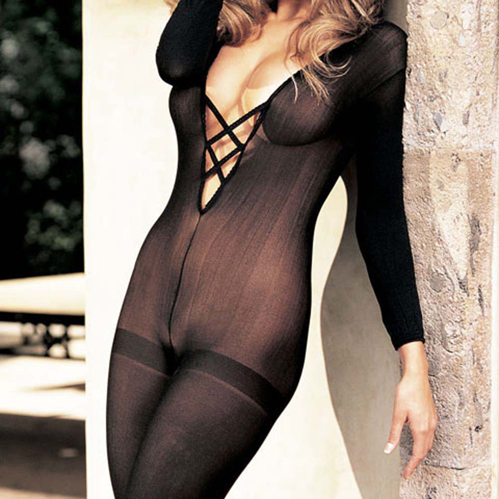 Sheer Bodystocking Criss Cross Chest Open Front Black - View #1