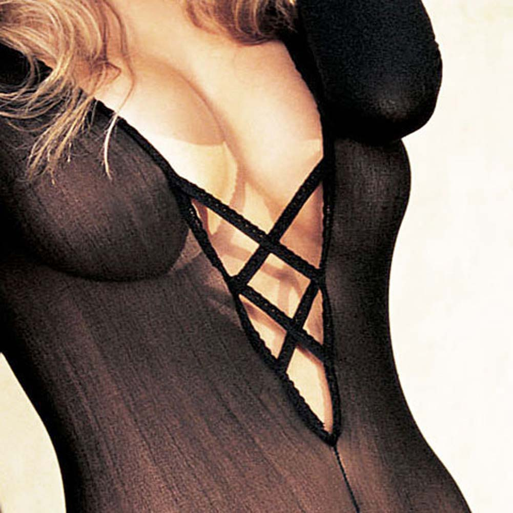 Sheer Bodystocking Criss Cross Chest Open Front Black - View #3