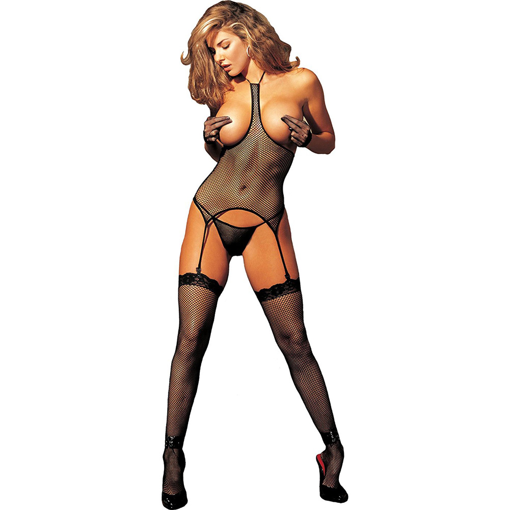 Fishnet Open Bust 3 Pc Set Camisole G-String and Stockings - View #1