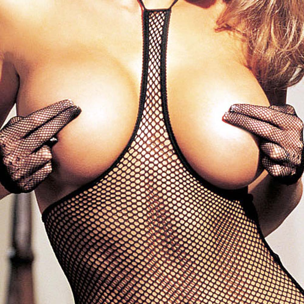 Fishnet Open Bust 3 Pc Set Camisole G-String and Stockings - View #3