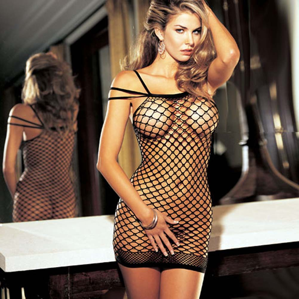 Big Hole Fishnet Dress Black - View #2