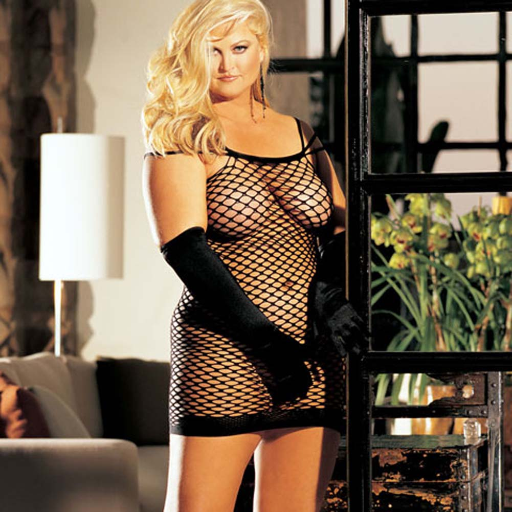 Big Hole Fishnet Dress Black Plus Size - View #1