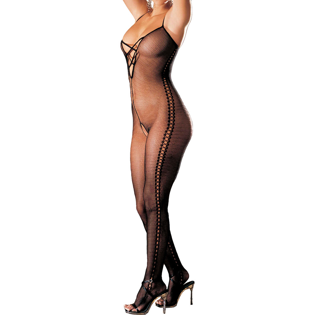 Stretch Fishnet Bodystocking with Criss Cross Front One Size Black - View #1