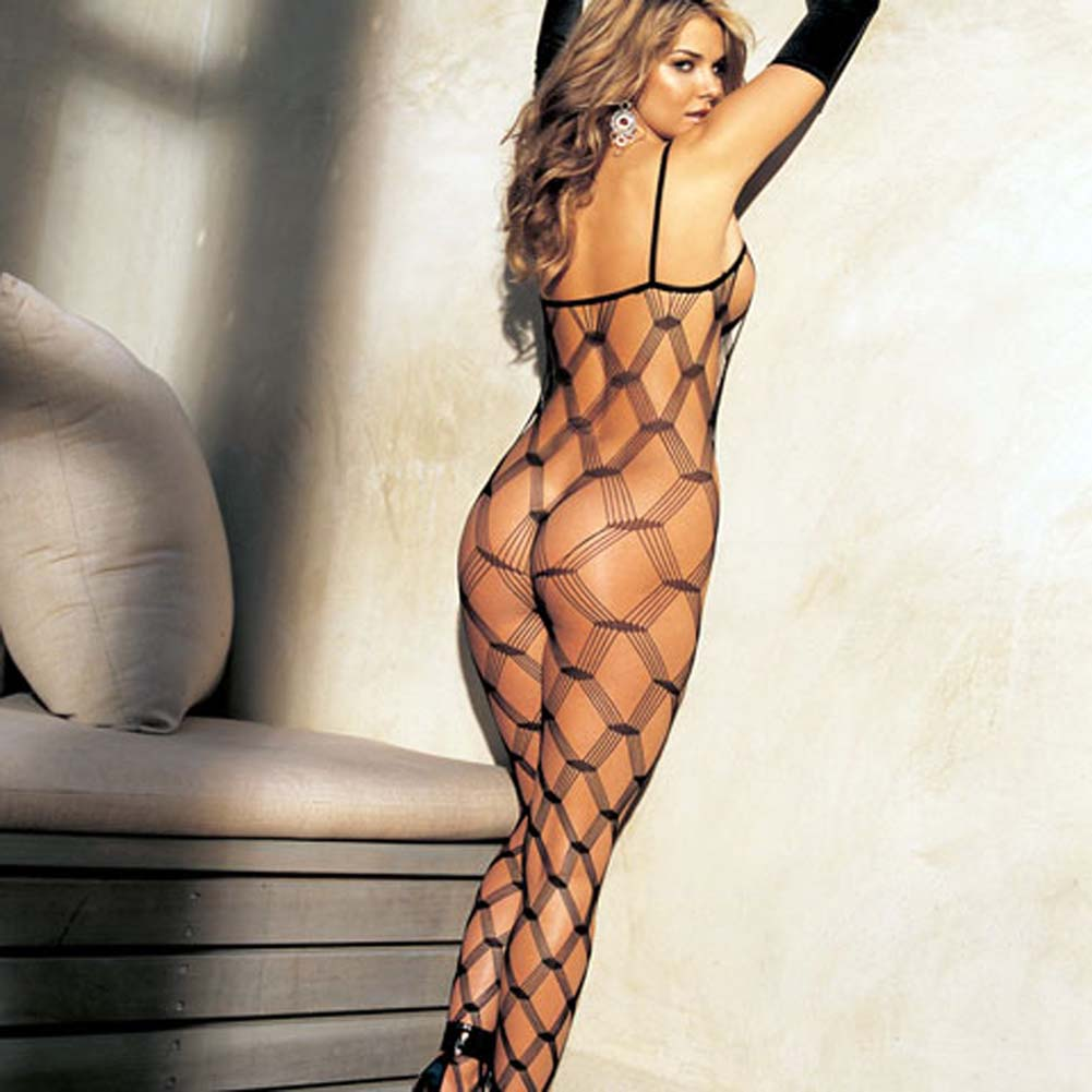 Big Open Diamond Patterned Fishnet Bodystocking Black - View #2