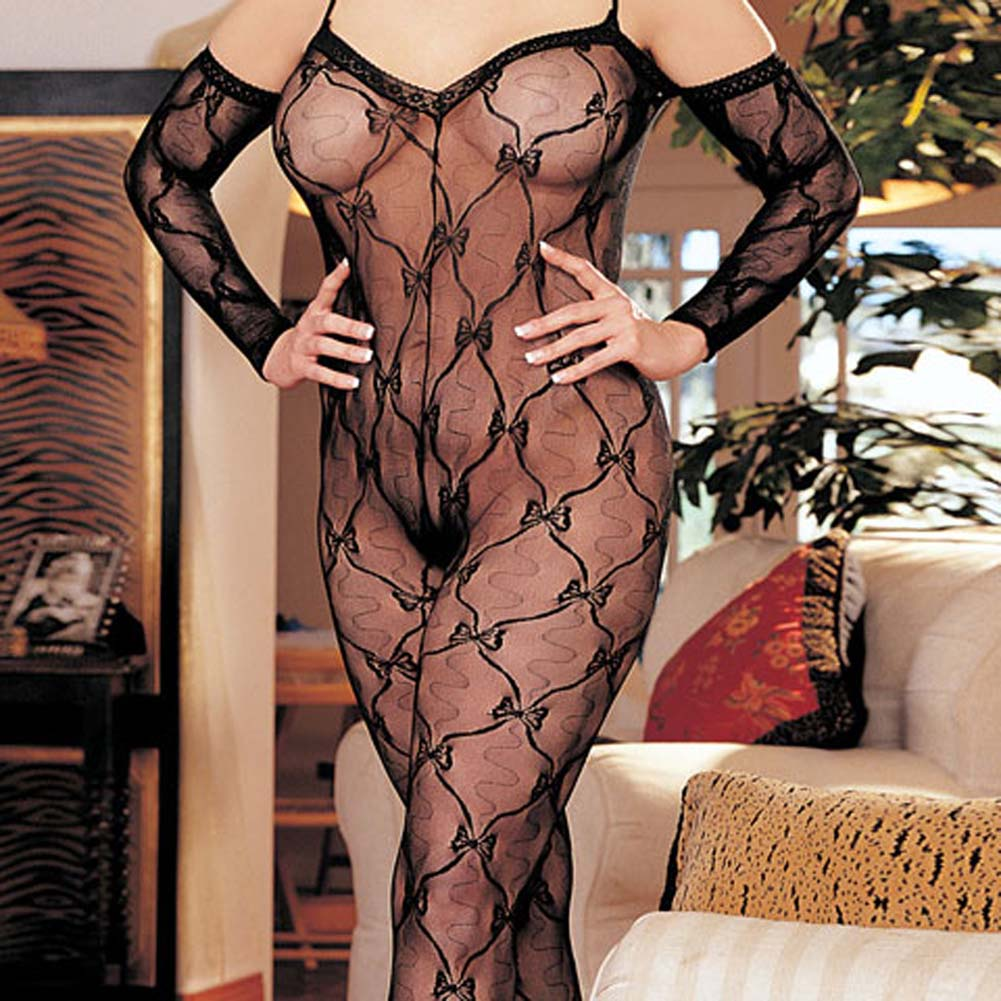 Stretch Lace Bodystocking Open Front Black Plus Size - View #1