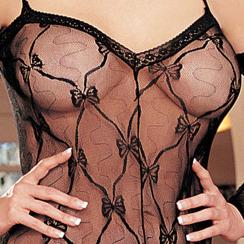 Stretch Lace Bodystocking Open Front Black Plus Size - View #3