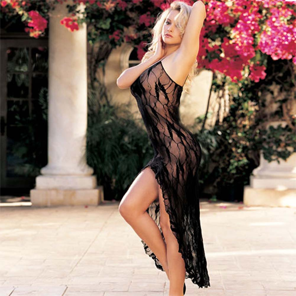 Stretch Lace Long Gown Black - View #2