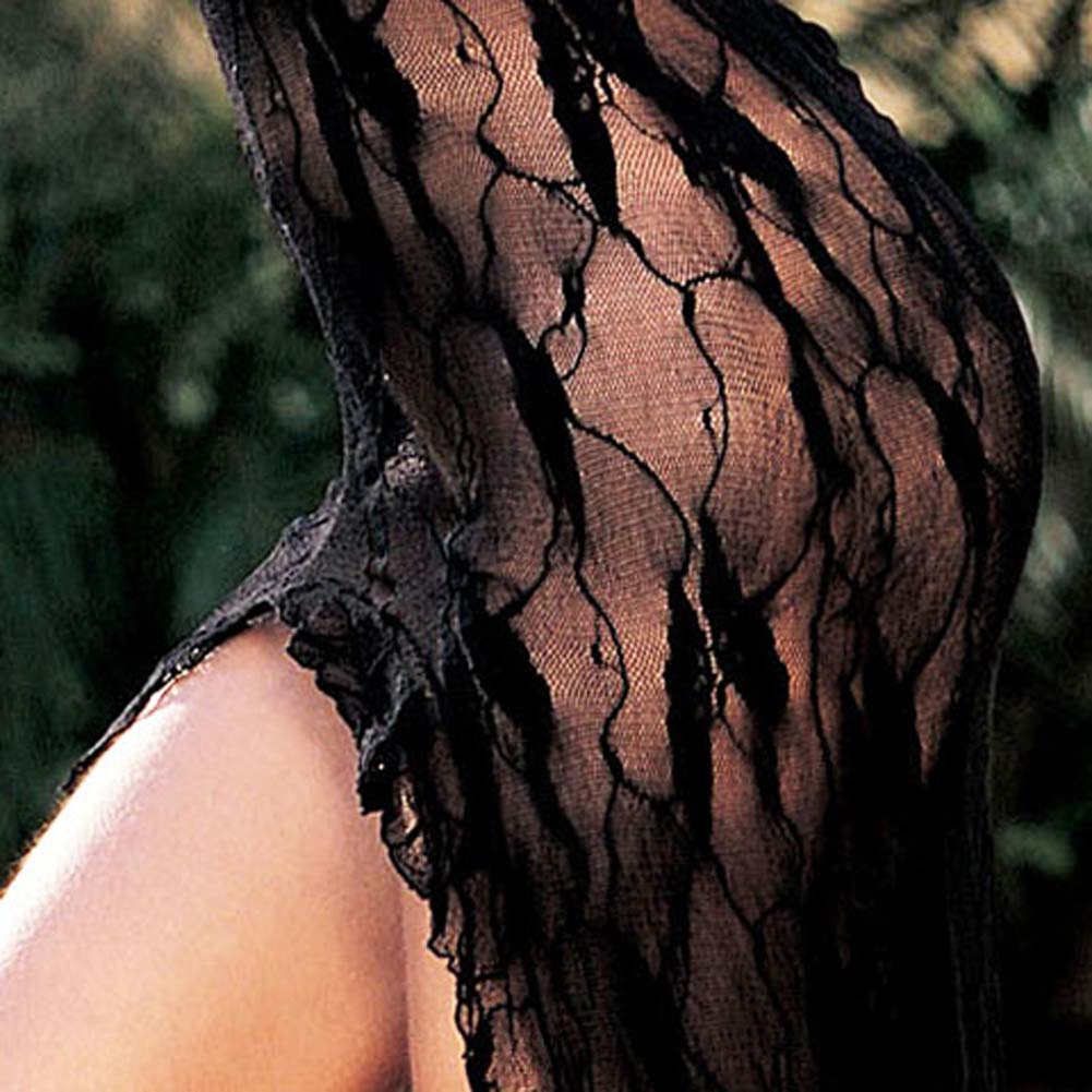 Stretch Lace Long Gown Black - View #4