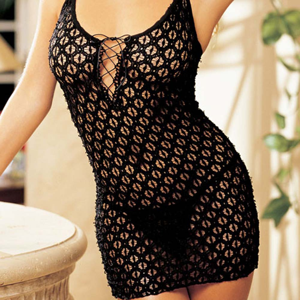 Re Embroidered Stretch Chemise with G-String Set Black - View #3